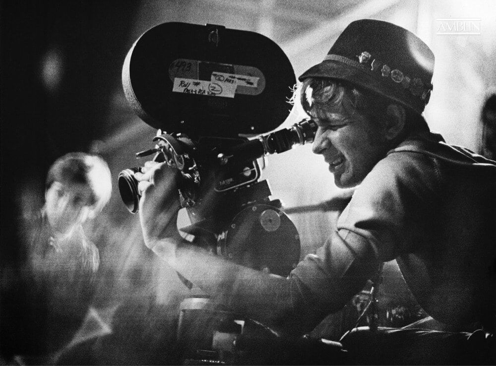 A 21-year-old Steven Spielberg sets up a shot on his 1968 short film, Amblin'. Co-star Richard Levin can be seen (left) observing.