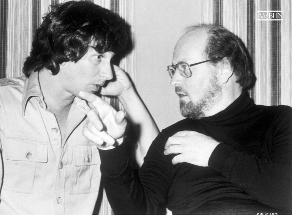 Discussing with composer John Williams the finer points of marrying the grand sights to the magnificent score for Close Encounters of the Third Kind, during recording sessions for the film.
