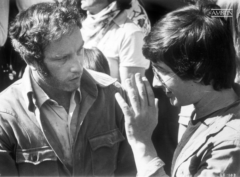 In consultation with his star, Richard Dreyfuss, playing Roy Neary in Close Encounters of the Third Kind.