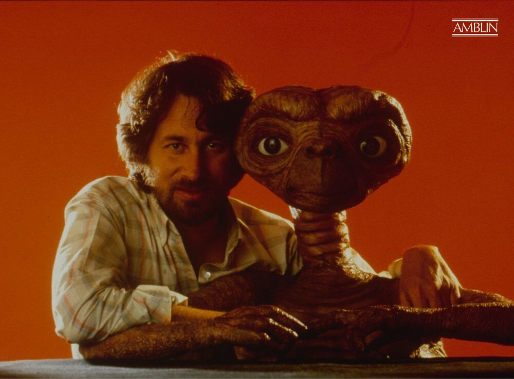 A publicity image of the director and his little lost alien, unaware at the time to the heights to which their film would soar with audiences around the world.