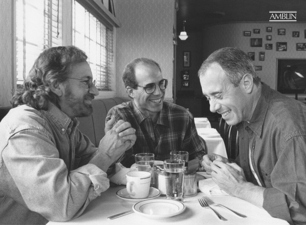 Partners in the Dream: Steven Spielberg, Jeffrey Katzenberg, and David Geffen, in a posed photo at the Hollywood Canteen, shot for Vanity Fair's April 1995 issue.
