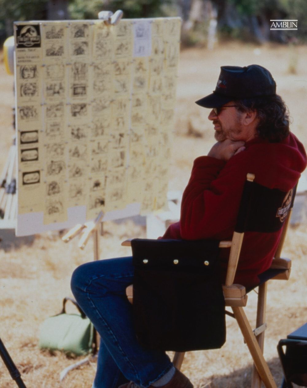 Spielberg sits next to the storyboard for the opening sequence in The Lost World Jurassic Park, his 1997 sequel to the monster hit Jurassic Park.