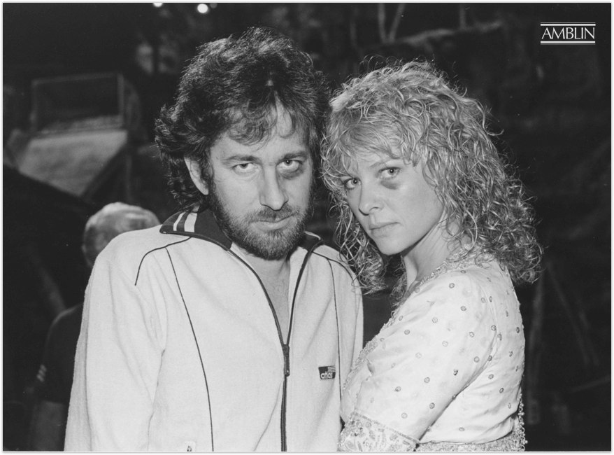 No one ever said filmmaking is for the fragile. Even the best of 'em take their lumps and come back fighting. Spielberg with Indiana Jones and the Temple of Doom co-star Kate Capshaw.