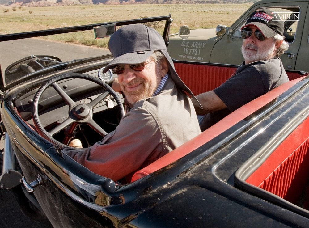 Two classics in a classic 1932 Ford Roadster: Steven Spielberg in the driver's seat with his executive producer George Lucas as his copilot.