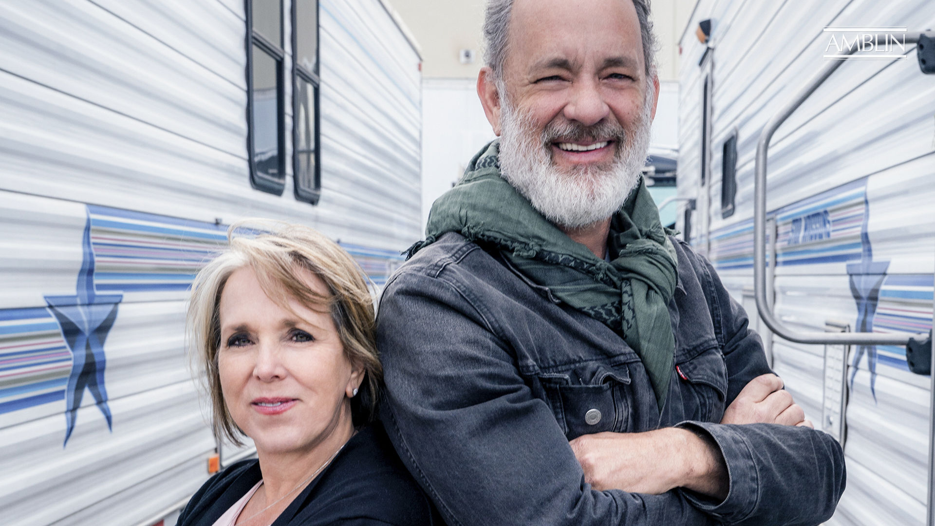 Actor Tom Hanks poses with New Mexico State Governor Michelle Lynn Lujan Grisham. Photo credits: Karen Kuehn/Universal Pictures and Amblin Entertainment
