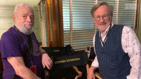 "Stephen Sondheim and Steven Spielberg on the set of the new ""West Side Story"" film."