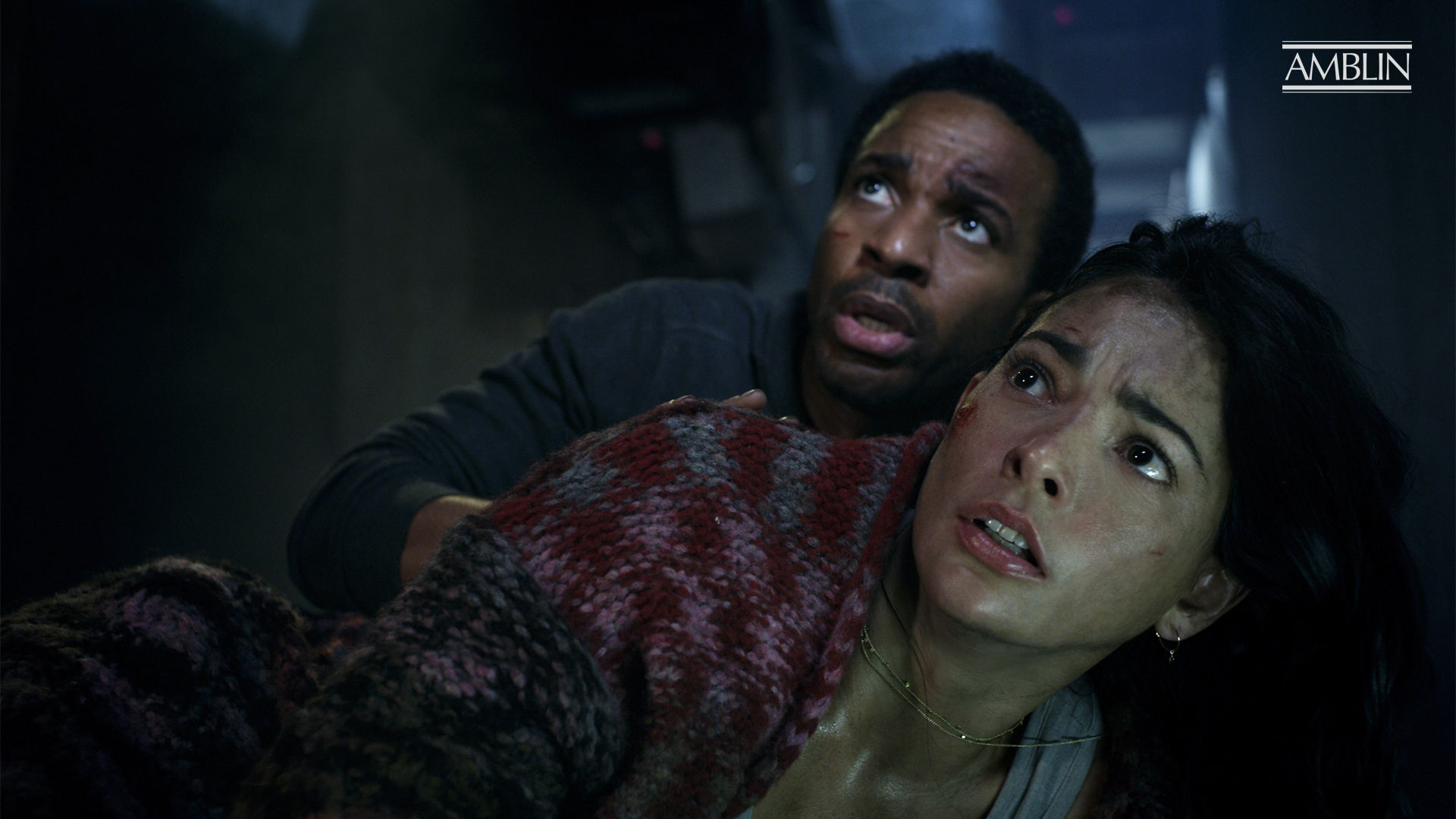 "André Holland and Natalie Martinez star in the Jurassic World short film ""Battle at Big Rock"" (2019)."